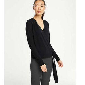 Ann Taylor 100% Merino Wool Black Wrap Sweater